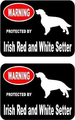 2 protected by Irish Red and White Setter dog car home window vinyl stickers #A