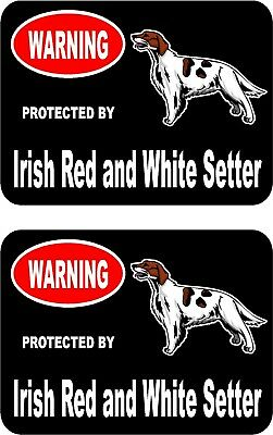2 protected by Irish Red and White Setter dog car home window vinyl stickers #C