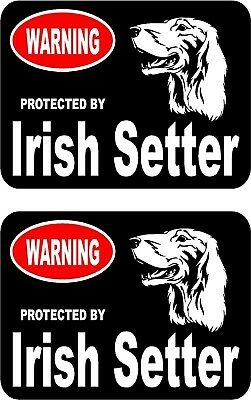 2 protected by Irish Setter dog car home window vinyl decals stickers #B