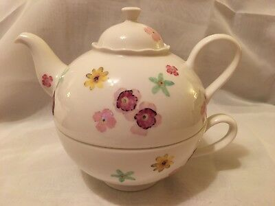 Linea By Portmeirion Teapot - Tea For One With Cup - Watercolours