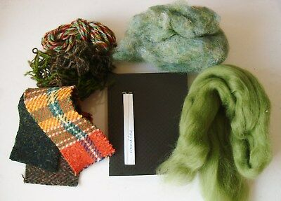 Mixed Wool Fibre Starter Pack for Needle Felting, with foam and 2 needles.