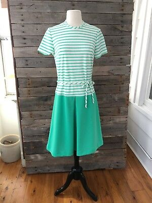 """Vintage Green & White Striped Dress with Belt - Chest 37"""" Length 40.5"""""""