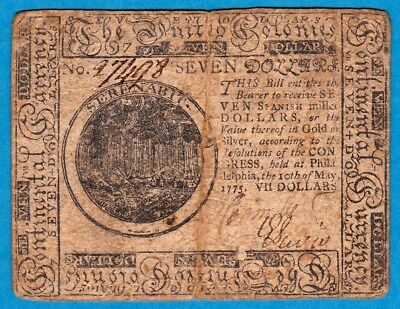 ***$7 CONTINENTAL CURRENCY*** May 10, 1775 $7 United Colonies! # CC-7