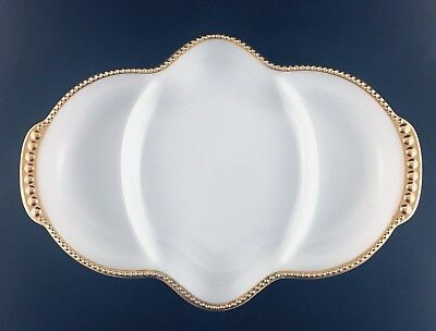 Fire King Pickle Relish Dish White Gold Beaded Trim Made In USA Milk Glass Vtg.