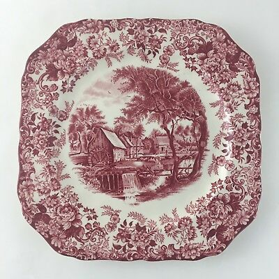 Johnson Bros. Mill Stream Square Salad Plate Ironstone Red Made In England Vtg.