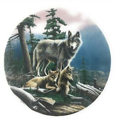 Kevin Daniel Collectors Plate Call Of The Wilderness First Outing Wolf & 2 Pups.
