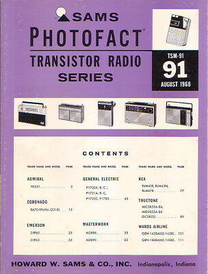 SAMS Photofact Transistor Radio Series Repair Manual TSM-91