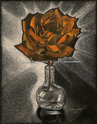$40.00 OFF - Nature Rose in Vase ORIGINAL Scratchboard 8.5x11 by LVZimmerman