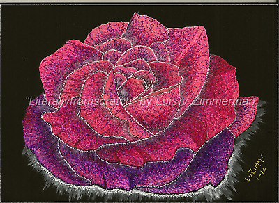$40.00 OFF - Nature Flower Rose ORIG Scratchboard 5x7x1/8 Ampersand board by LVZ