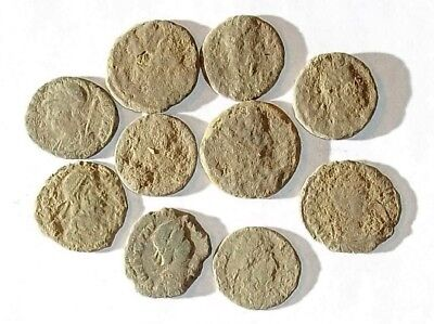 10 ANCIENT ROMAN COINS AE3 - Uncleaned and As Found! - Unique Lot 03156
