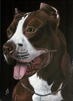 "$40.00 OFF - Pets Dog Red Pit ORIGINAL Scratchboard Art 9""x12""x1/8"" by LuZimm"