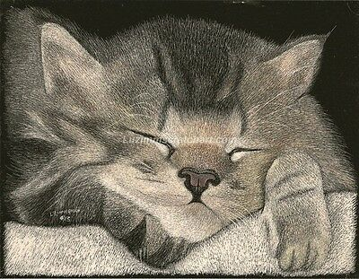 $25.00 OFF - Animal Cat Dog ORIGINAL Scratchboard regular board 8.5x11 by LVZimm