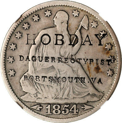 1854 Seated Liberty Half Dollar, Rare Southern Counterstamped