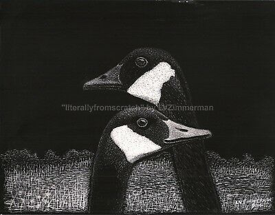 "$25.00 OFF -Nature Bird Canadian Geese ORIGINAL Scratchboard Art 8.5""x11"" by LVZ"