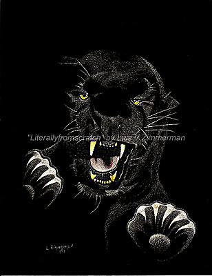 $25.00 OFF - Animal Lion Tiger Panther ORIGINAL Scratchboard 8.5x11in  by LVZimm