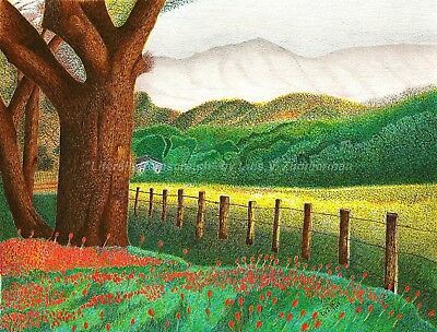 "$45.00 OFF - Nature Country Side Scene ORIGINAL Pointillism 8.5""x11""  by LuZimm"