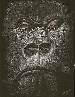 "$35.00 OFF - Animal Monkey Ape Gorilla ORIGINAL regular board 8.5""x11"" by LuZimm"