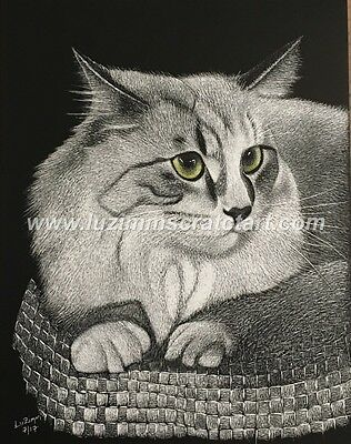 $30.00 OFF - Animal Pets Cat Dog ORIG Scratchboard regular board 8.5x11 by LVZ