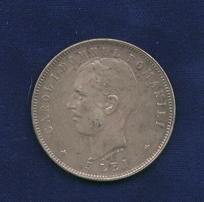 Romania  Carol I  Nd(1906)  5 Lei Silver Coin, Almost Uncirculated