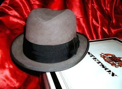 CLASSIC Vintage 1950-60s STETSON HOMBURG HAT Big 7 1/2 + ORIGINAL BOX! Handsome!
