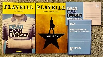 Dear Evan Hansen AND Hamilton playbill - *Both playbills* *Free  DEH Postcard*