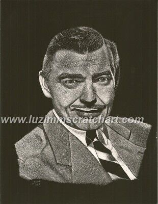 $60.00 OFF - Nature Clark Gable Hollywood ORIGINAL Scratchboard 8.5x11 by LuZimm
