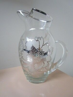 """Glass Crystal Clear And Frosted Glass Silver Overlay Pitcher  9"""" [*D3]"""