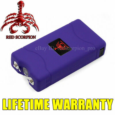 Red Scorpion Mini Women Stun Gun 800 Purple 10 BV + Rechargeable LED Flashlight