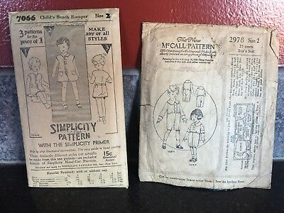 Vintage McCall & Simplicity Children's Boys Sewing Patterns Complete 1920s
