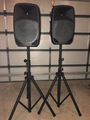 2 X HH Electronics Red 12 Active PA Speakers with stands