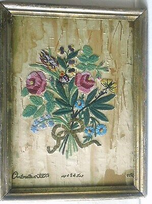 Antique 1845 Glass Bead Floral Spray on Silk Fabric-Is Bonded to Board & Framed