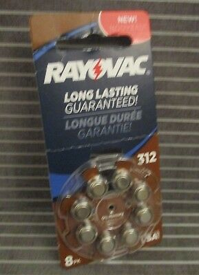 Rayovac Long Lasting Type 312 Hearing Aid Batteries, 8-Pack {MERCURY FREE}