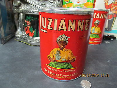 LUZIANNE COFFEE & CHICORY TIN BLACK AMERICANA SEALED WITH COFFEE 40s NEW OLD ST.