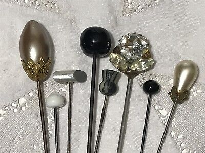 Lot of Vintage Lapel or Hat Pin x 8 Faux Pearl, Glass, Rhinestone
