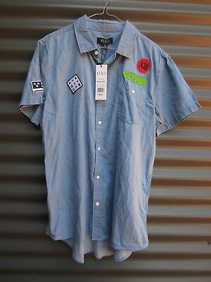 Kenji Men's Blue Denim Short Sleeve Shirt With Patches Measured Chest Size Small