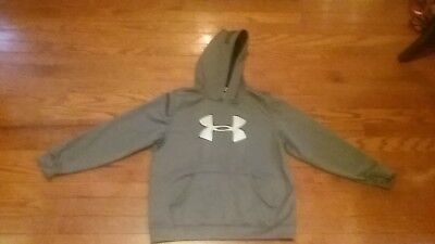 BOYS UNDER ARMOUR youth large gray Logo SWEATSHIRT HOODIE LOOSE