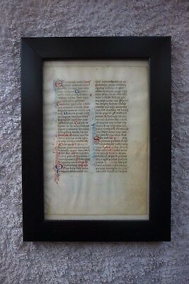 Illuminated Manuscript Leaf Page Velllum Circa 13th Century 1200s Italy