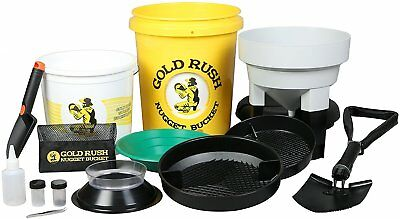 Gold Rush Nugget Bucket - Deluxe Gold Panning and Prospecting Kit With Folding S