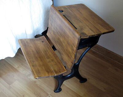 Antique School Desk - Gorgeous Wood! - Child's Desk w/ Wrought Iron & Inkwell