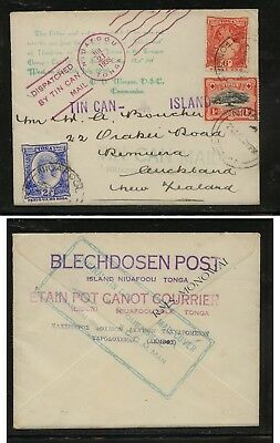 Tonga   40,46,59  on  tin can cover to  New  Zealand          MS1218