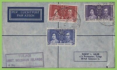 Br. Solomon Is. 1937 KGVI Coronation set registered First Day Cover