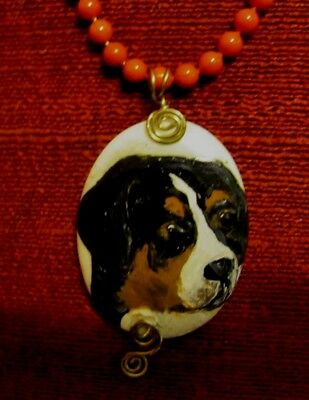 Greater Swiss Mountain Dog hand painted on wire wrapped pendant/bead/necklace