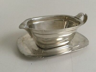 Vintage Reed & Barton Mayflower Silver Plated Gravy Boat with Under Plate