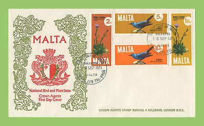 Malta 1971 Birds & Plants set on Crown Agents First Day Cover, Valletta