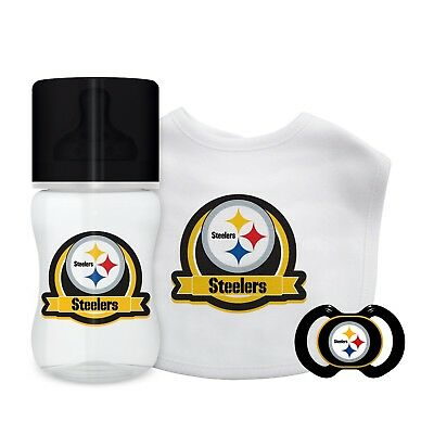 1e22c58bfb6 Pittsburgh Steelers Infant Baby Fanatic Gift Set Bottle Bib Pacifier BPA  Free