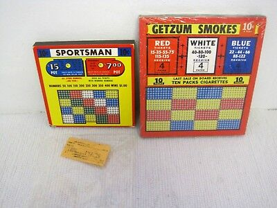 Lot of 2 New Deadstock Vtg Punch Hole Games-Getzum Smokes & Sportsman .10 Cents