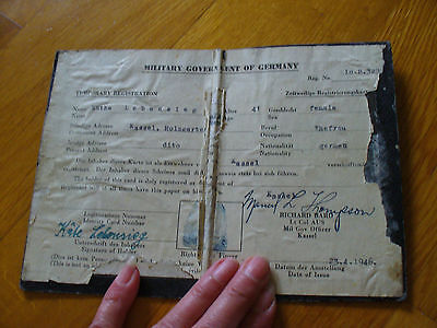 ORIG. WK Ausweis ZEITW. US MILITARY REGISTRIERUNGSKARTE 1946 Military Government