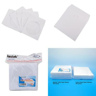 100 Pack Maxtek Premium Thick White Paper CD DVD Sleeves Envelope with Window Cu