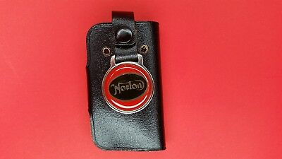 Vintage Norton motorcycle Keychain key chain ring with leather pouch FOB Black