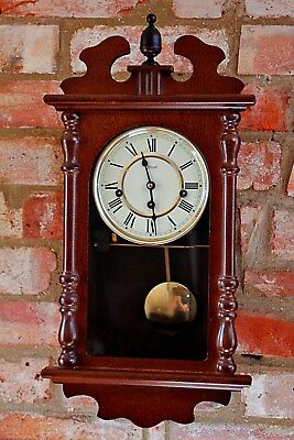 "Vintage German ""Hermle"" 8-Day Wall Clock with Westminster Chimes"